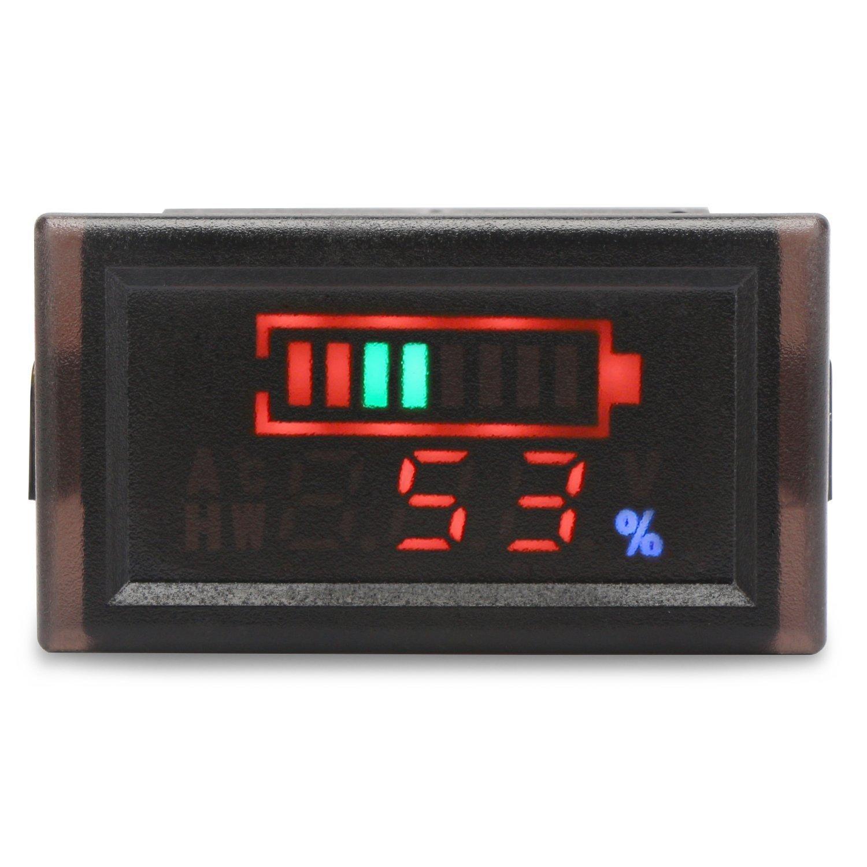 Wasserdichte DC 6-120V Digital Batterie-Spannungs-Messinstrument-Leistungsmesser, YB28VE-W 2 Wires Energien-Spannungs-Monitor fü r elektrisches Fahrzeug, Energien-Anzeigen-Voltmeter Geeignet fü r Blei-Sä ure / NI-MH / Lithium / Polymer-Batte