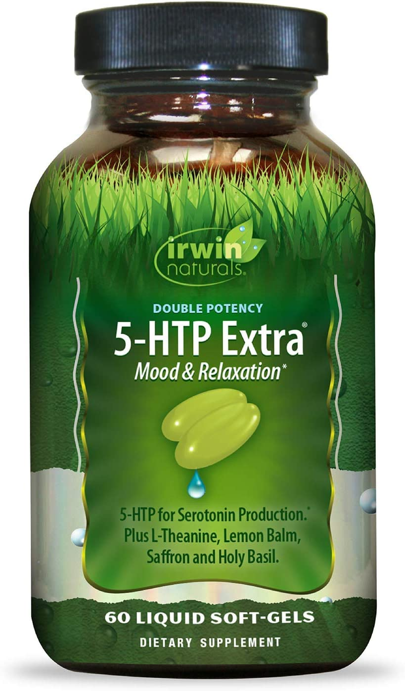 Irwin Naturals Double Potency 5-HTP Extra Mood & Relaxation for Seratonin Production - 60 Liquid Soft-Gels