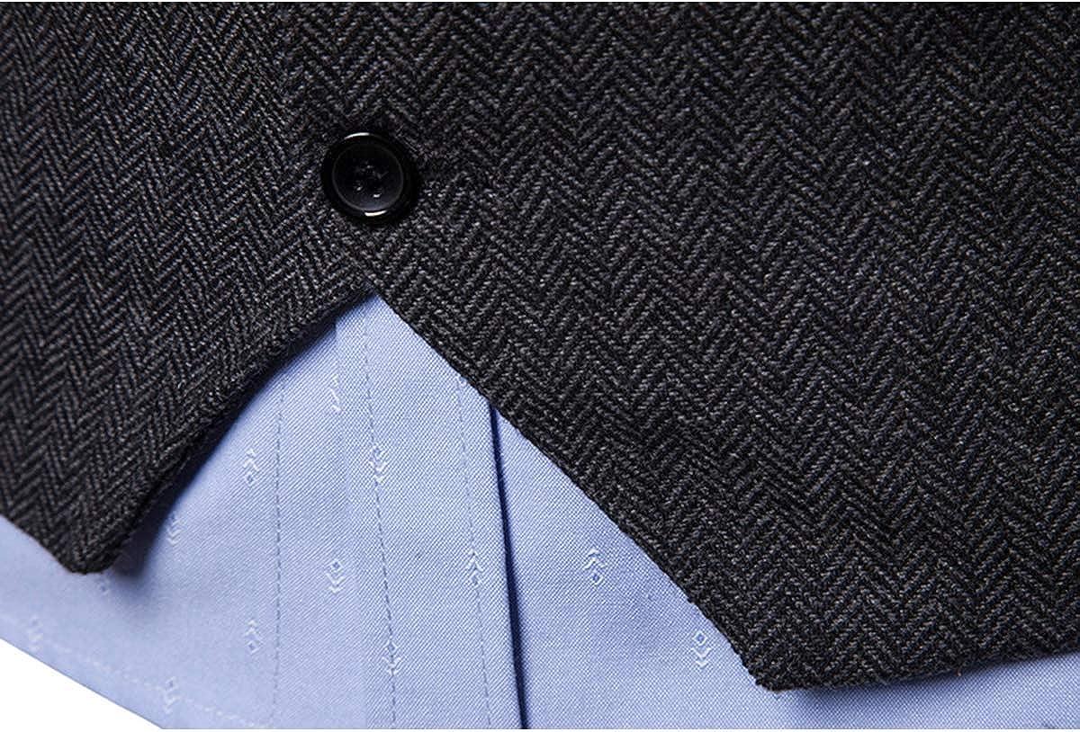 JOLIME Mens Tweed Herringbone Vintage Casual Business Waistcoat Suit Vest Formal Wedding