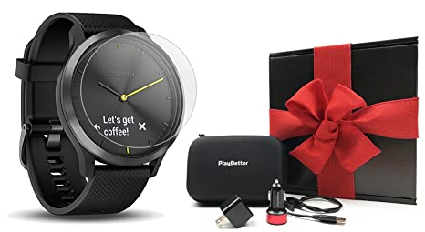 Garmin vivomove HR Sport (Black - Large) Hybrid Smartwatch Gift Box Bundle | with PlayBetter Screen Protectors (x4), PlayBetter USB Wall/Car Adapters, ...