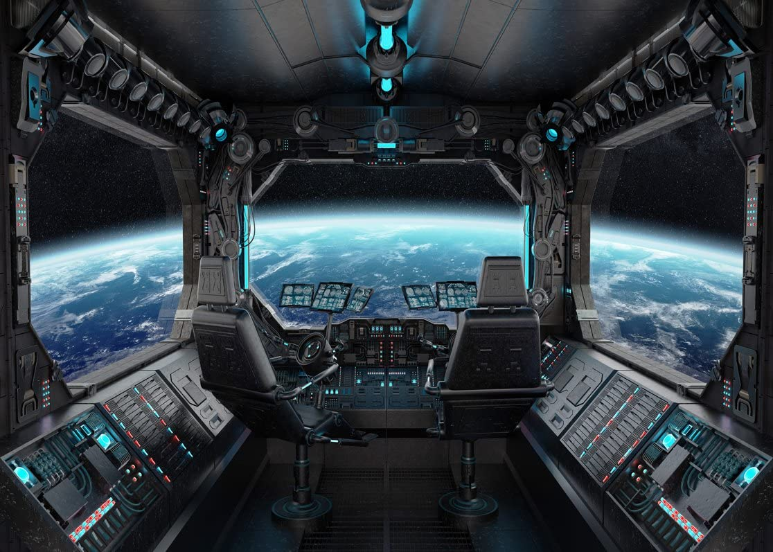 LYWYGG 7x5ft Vinyl Spaceship Interior Background Futuristic Science Fiction Photography Backdrops Spacecraft Cabin Photo Shoot Studio Props Astronomy Universe Galaxy Outer Space Station CP-37-0705