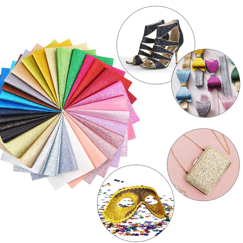 Caydo 30 Colors Shiny Superfine Glitter Fabric, PU Leather Fabric Sheets Canvas Back for Craft DIY, Hair Clips Making, Hat Making 12.6 x 8.6 Inch (32 x 22 cm) by Caydo (Image #5)