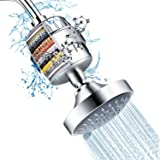Shower Head and 15 Stage Shower Filter Combo, FEELSO High Pressure 5 Spray Settings Filtered Showerhead with Water…