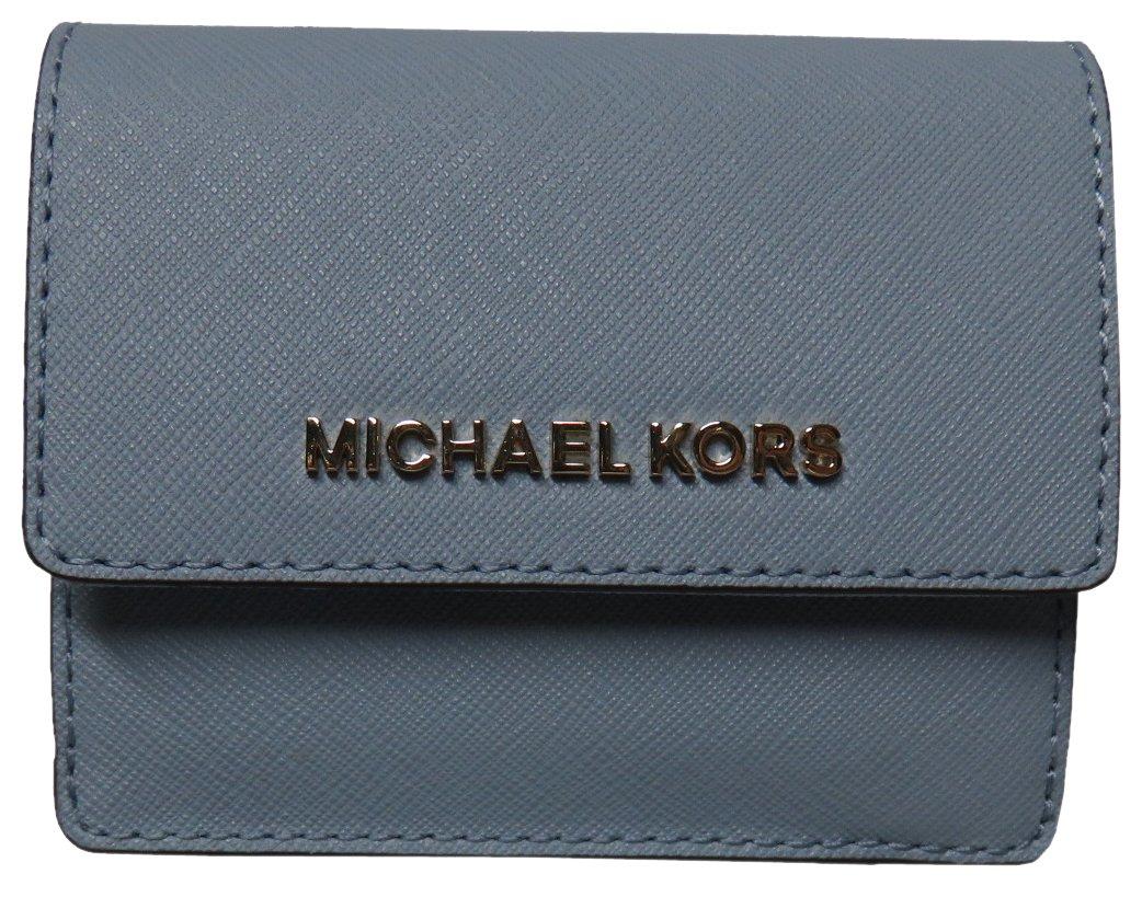 Michael Kors Jet Set Travel Leather Card Case Key Holder Wallet Pale Blue