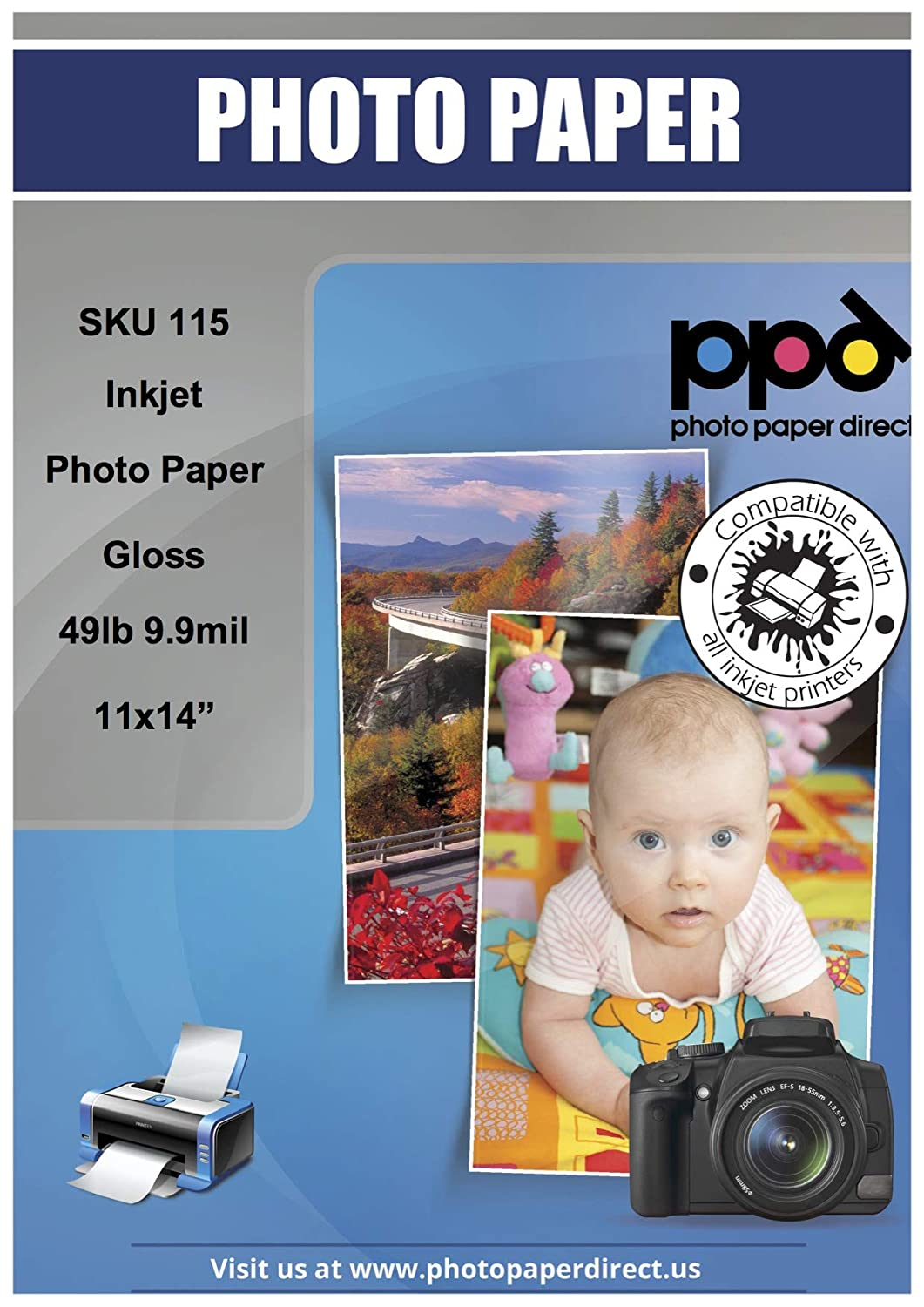 PPD Inkjet Glossy Photo Paper 11x14 49lb. 180gsm 9.9mil x 50 Sheets (PPD115-50) Photo Paper Direct