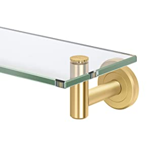 Gatco Latitude II Glass Shelf, 20 Inch, Brushed Brass
