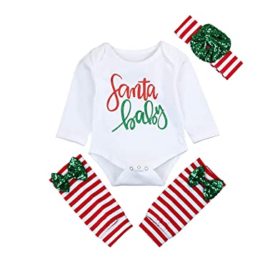 8bbfdd75be3 Baby Xmas Outfit Newborn Girls Santa Romper Leg Warmers Bow Headband 3Pcs Clothes  Set (White