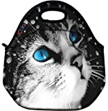 Blue Eye Cat Thermal Neoprene Waterproof Kids Insulated Lunch Portable Carry Tote Picnic Storage Bag Lunch box Food Bag Gourmet Handbag Cooler warm Pouch Tote bag For School work Office FLB-016