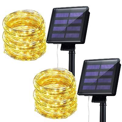 Mpow Solar String Lights, 33ft 100LED Outdoor String Lights, Waterproof Decorative String Lights for Patio, Garden, Gate, Yard, Party, Wedding, Christmas (Warm White) : Garden & Outdoor