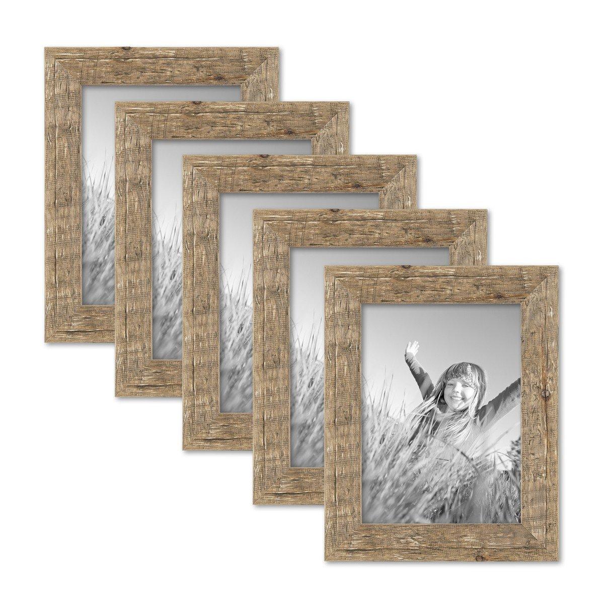 PHOTOLINI 5er Bilderrahmen-Set 18x24 cm Strandhaus Rustikal Eiche-Optik Natur Massivholz mit Glasscheibe inkl. Zubehör Fotorahmen