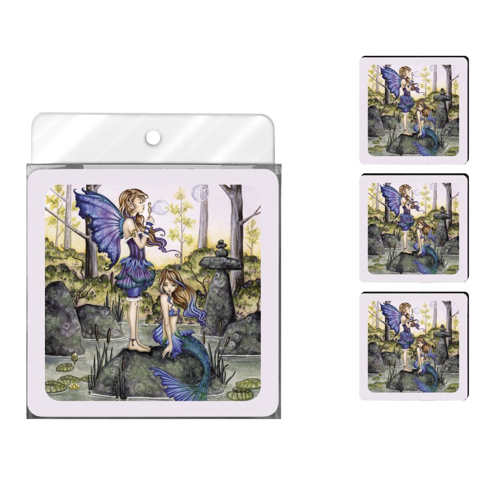 Second Cousins Fairy and Mermaid Tree-Free Greetings NC37562 Amy Brown Fantasy 4-Pack Artful Coaster Set