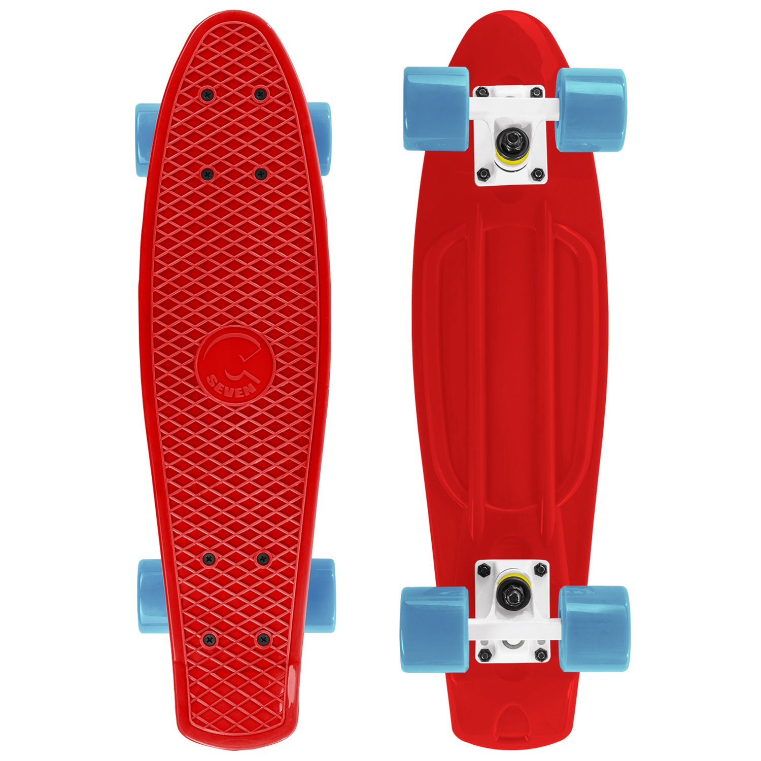 Cal 7 Style Skateboard Complete 22 Inch Standard Cruiser (Red/White/Aqua) by Cal 7