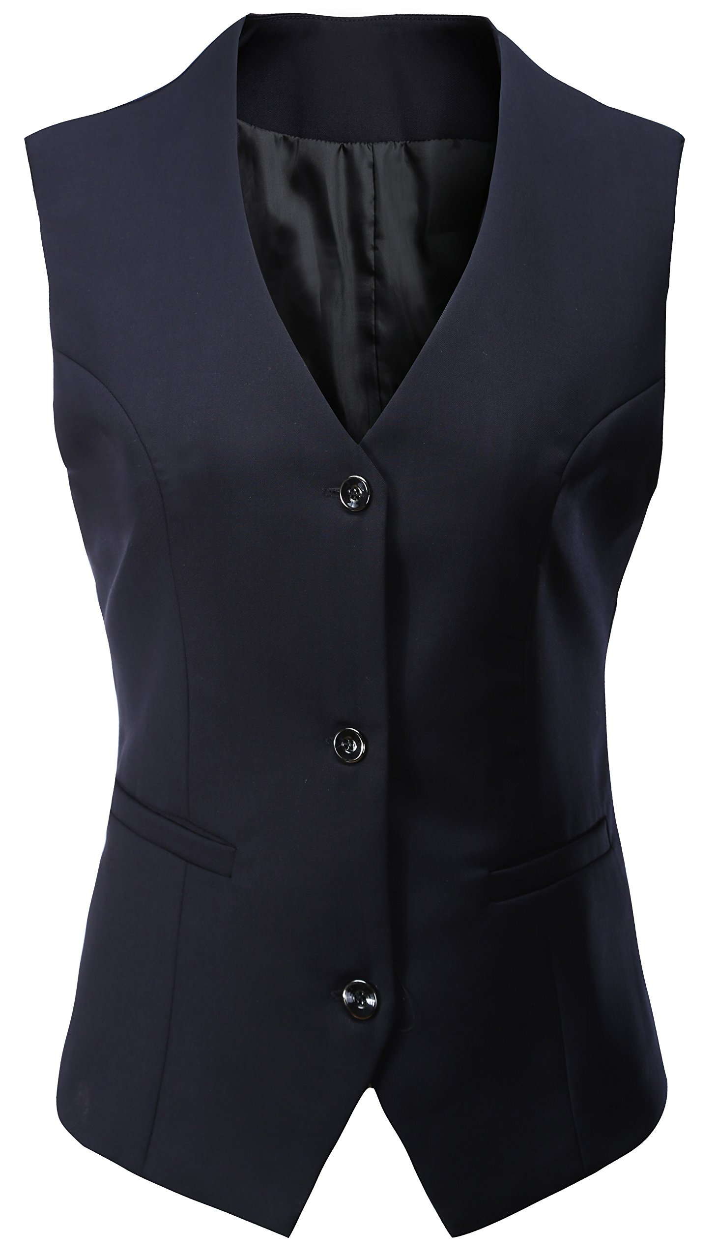 Vocni Women's V-Neck Sleeveless 3 Button Fully Lined Slim Fit Economy Dressy Suit Formal Vest Waistcoat,Blue,US XS (Fit Bust 30.3''-32.7''),Tag M