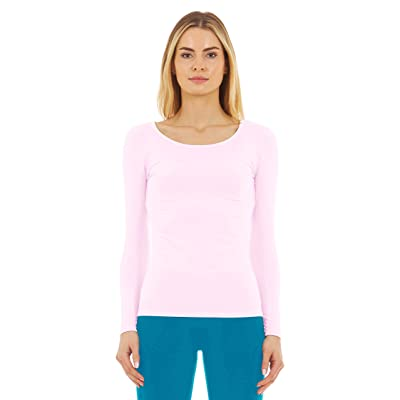 Thermajane Women's Ultra Soft Scoop Neck Thermal Underwear Shirt Long Johns Top with Fleece Lined at Women's Clothing store