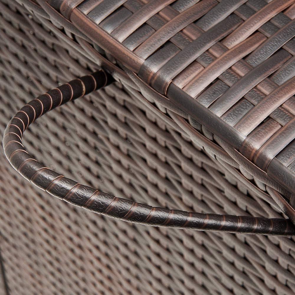 Deuba Baule Contenitore 122x56x61cm Poli Rattan Maniglie rotelle cassapanca Giardino Esterno Interno Marrone