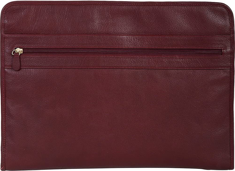 Red Scully Calf Leather 3 Way Zip Envelope File Business Case