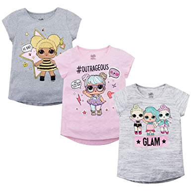 6be8ec6d0 Amazon.com  L.O.L Surprise! Girls T-Shirt Set - 3 Pack of LOL ...