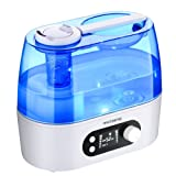 VicTsing Whole House Humidifiers with Smart Humidity Monitor & Timer, 3L Ultrasonic Cool Mist Humidifier for Bedroom, Reduce Noise Design & LCD Screen, 360° Adjustable Mist, Sleep Quieter for Baby