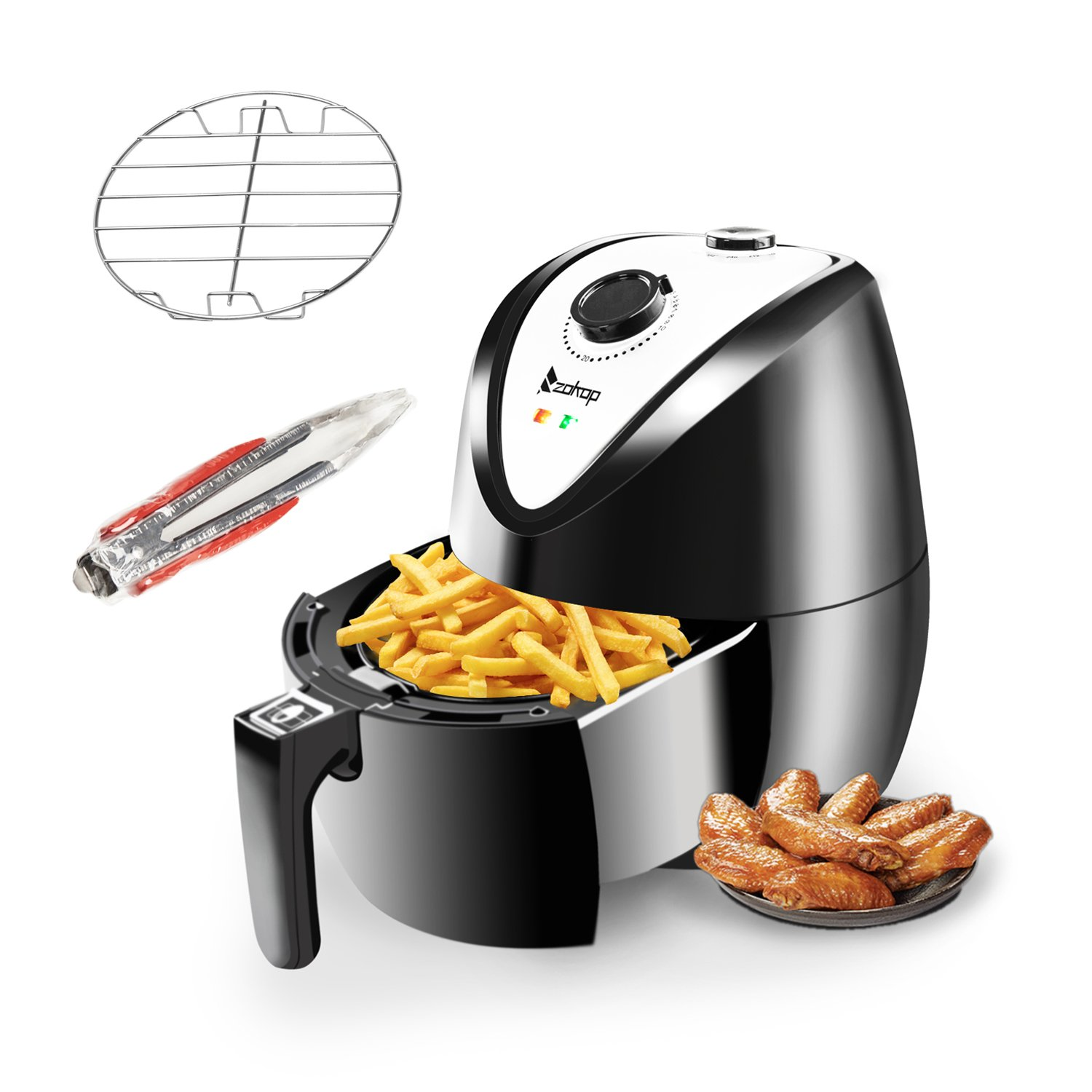 ROVSUN Electric Air Fryer 3.7QT Capacity 1500W Air Frying Technology with Temperature and Time Control, Removable Dishwasher Safe Basket, Includes Metal Holder and Cooking Tongs Accessory, ETL Listed