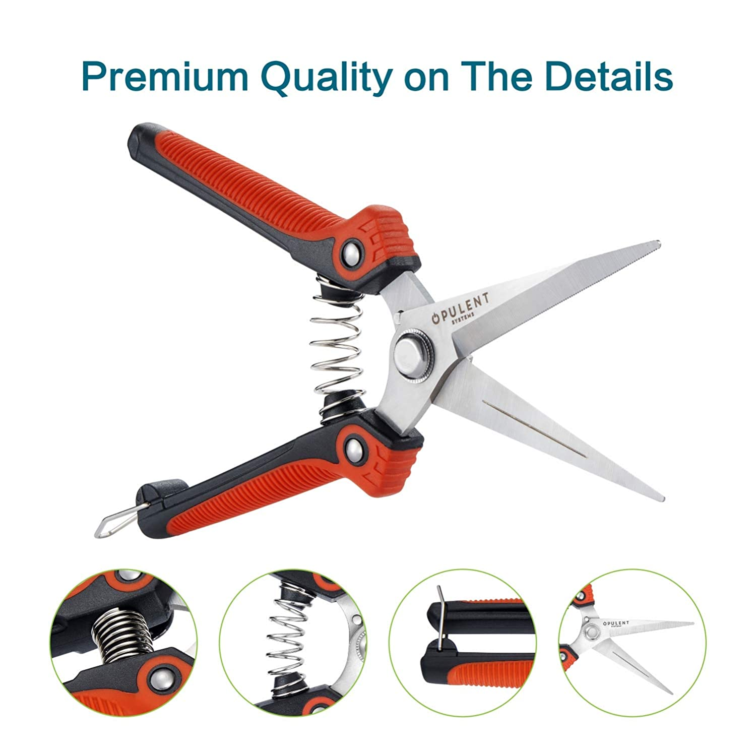 """OPULENT SYSTEMS 2-Pack Professional Pruning Shears Set 8/"""" Handing Pruner with Steel Straight Blade and 7/"""" Bypass Sharp Steel Blade Garden Shears"""