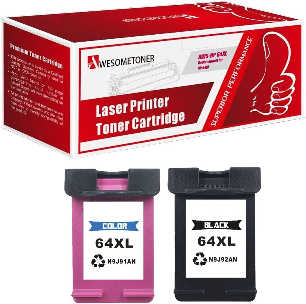 use with Envy 6255 7155 7855 HP 64XL Black, Color, 2-Pack Awesometoner Compatible Ink Cartridge Replacement for HP N9J92AN N9J91AN