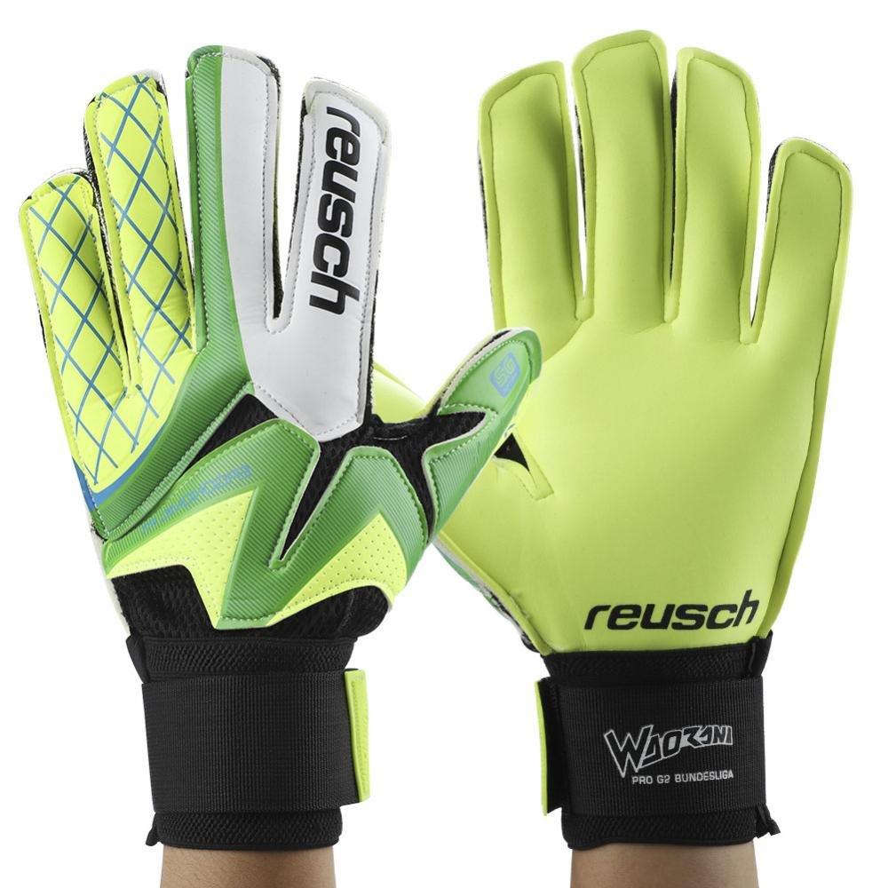 1 Pair Goalkeeper Gloves, Thickened Latex Soccer Finger Save Protection Goalie Gloves Football Full Finger Gloves(Green-9#) VGEBY
