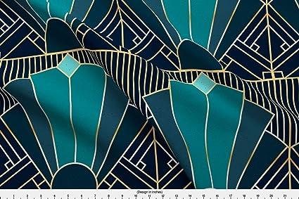 Wondrous Amazon Com Spoonflower Art Deco Fabric 1920 Teal Navy Download Free Architecture Designs Grimeyleaguecom