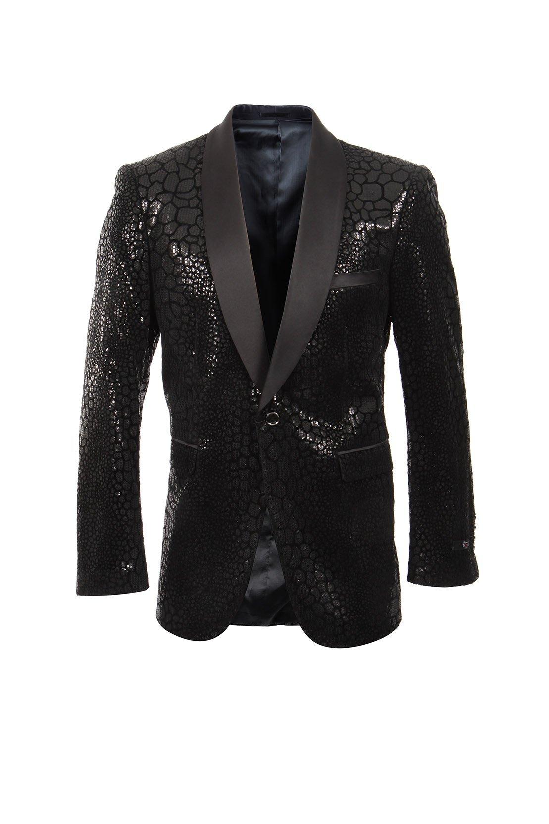 TAZIO Men Jacket Modern Fit Shiny Satin Shawl Collar Blazer Dinner Jacket