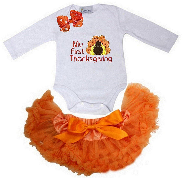 Kirei Sui Baby Orange Pettiskirt First Thanksgiving Turkey Bodysuit JS7BOR02W09B