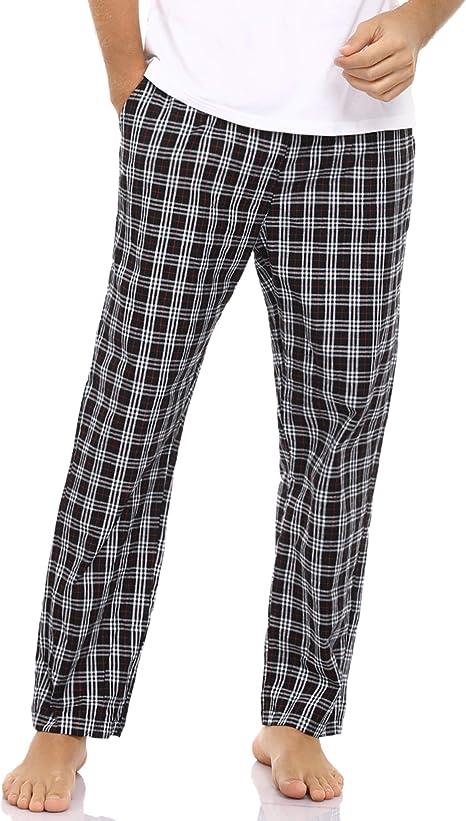 Pantaloni da Uomo a Quadretti in Cotone al 100/% con Tasche Pantaloni Pigiama Pantaloni Lunghi Aibrou Pantaloni da Pigiama Uomo