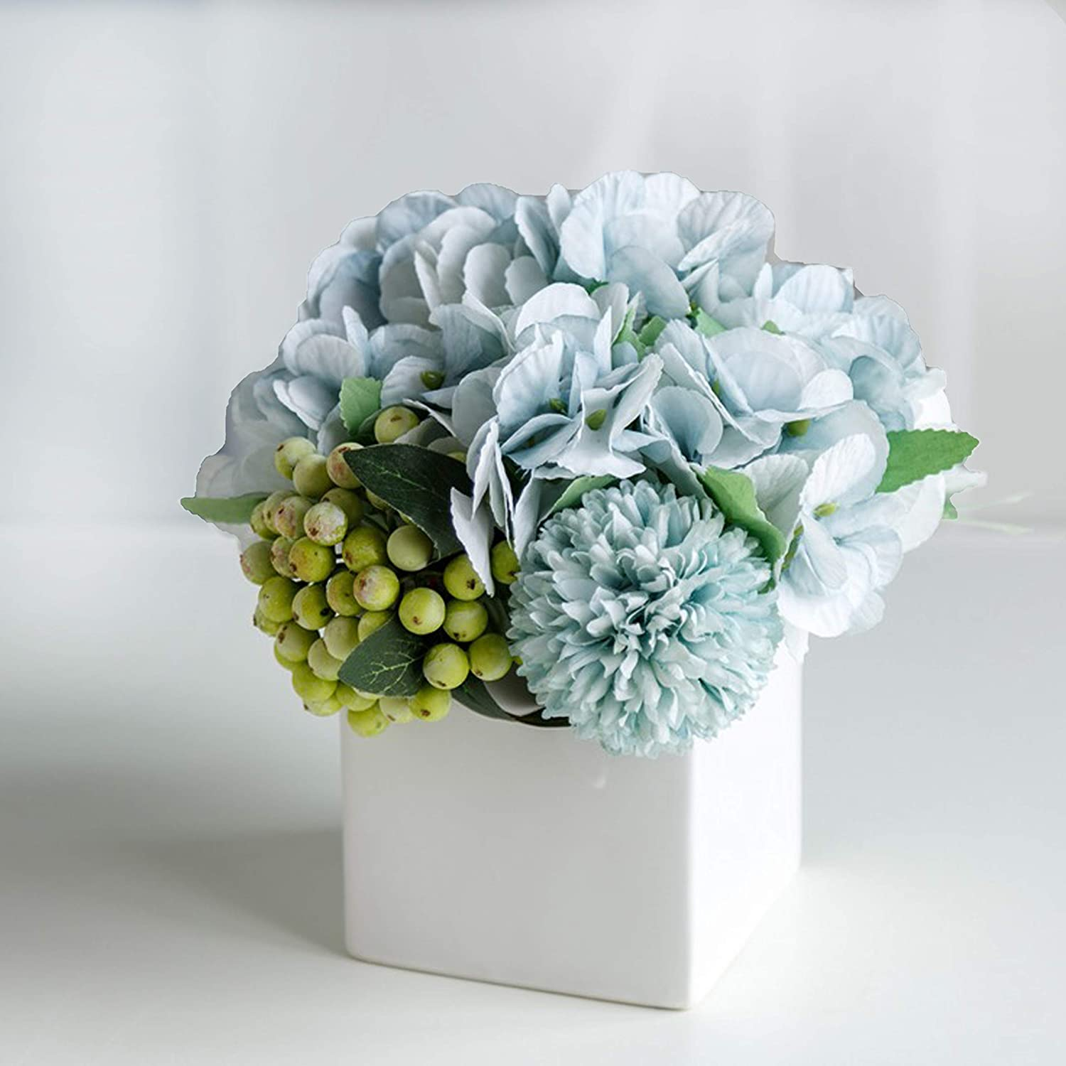 LADADA Fake Peony Flowers in Ceramic Vase,Faux Hydrangea Flower Arrangements for Home Decor Artificial Flowers with Vase