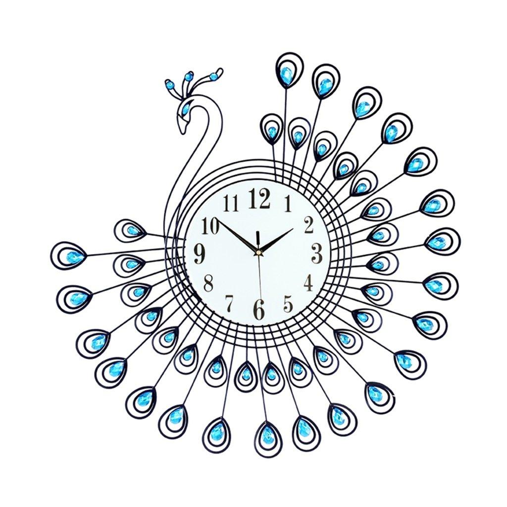 YFF-壁時計 モダンミニマリストリビングルームウォールクロックヨーロピアンスタイルのベッドルームミュートクォーツ時計ピーコッククリエイティブファッションパーソナリティアートウォールマウント装飾時計(青) ( サイズ さいず : 65*65CM ) B07CKXM8ZD65*65CM