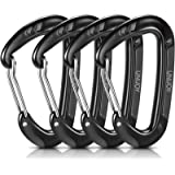 Unijoy Carabiner Clips, 4 Pack, 12KN Heavy Duty Wiregate Carabiners for Camping Hiking Hammock etc, Small Aluminium…