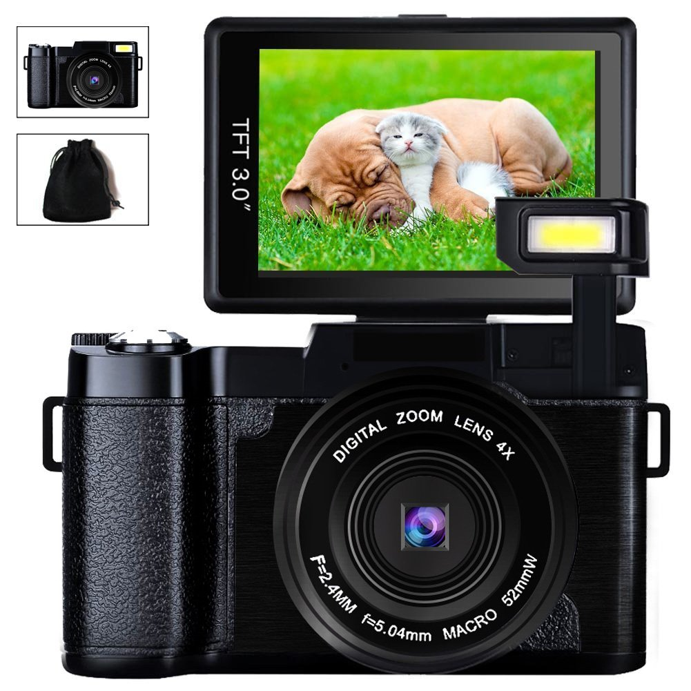 Digital Camera Camcorder Full HD Video Camera 1080p 24.0MP 3.0 Inch 180 Degree Rotatable Screen with Camera Bag and Retractable Flashlight by SUNLEA