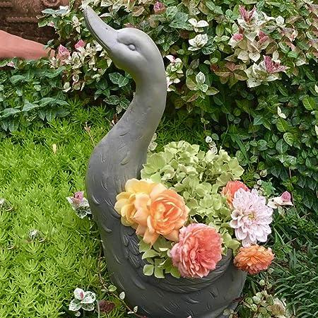 zenggp Cisne En Forma De Resina Maceta Vintage Gris Decoración Maceta Jarrón Gran Home Garden Decoración: Amazon.es: Hogar