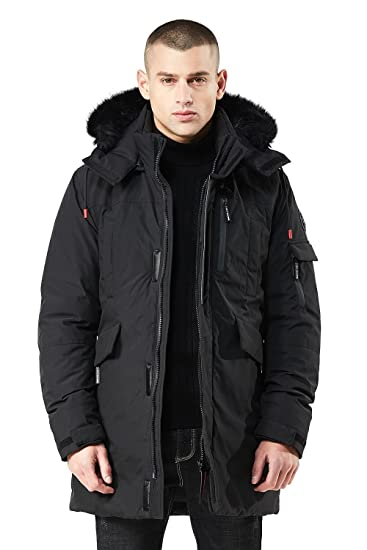 e72ba38ca428 Men s Thickened Hooded Puffer Jacket Coats Quilted Padded with Faux Fur  Outwear with Hood Collar Winter Coats for Men