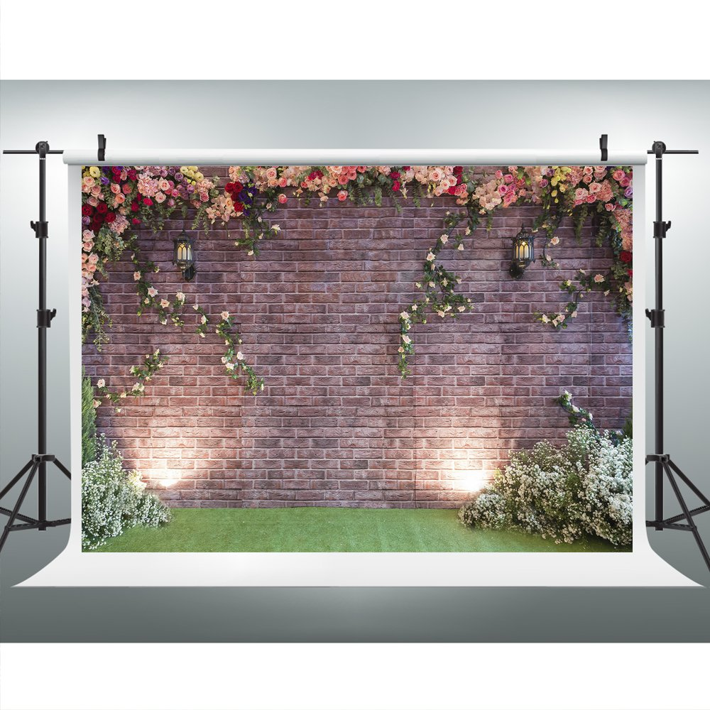 Maijoeyy 7x5ft Flower Backdrop Brick Wall Flower Photography Backdrop for Picture Photography Props HJ02193 by Maijoeyy