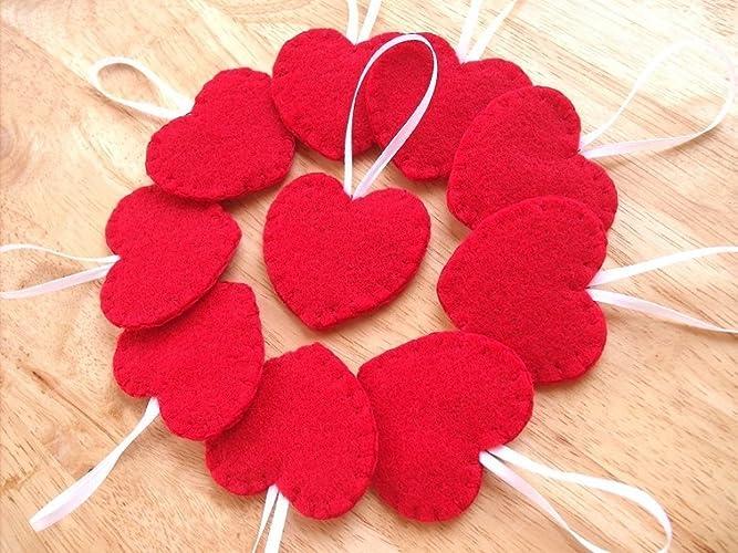 amazon com 10 red heart ornaments felt heart decorations handmade