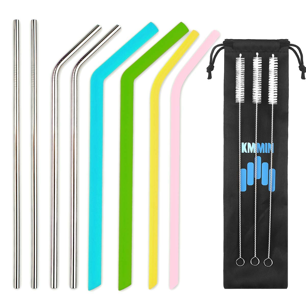 Reusable Straws,Kmmin Stainless Steel Straws Silicone Straws for 30&20 oz Tumblers Fits RTIC&YETI Cups-4 Silicone Straws+4 Metal Straws+3 Brushes-Reusable Straw Extra Long+1 Storage Pouch