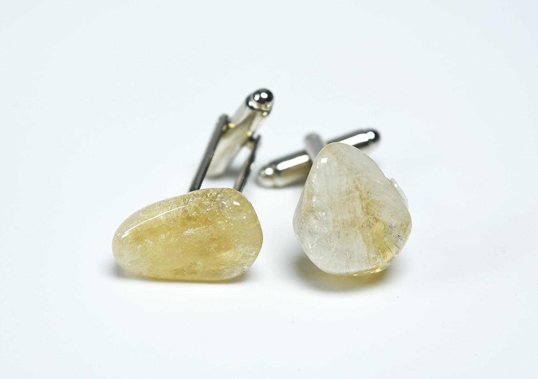 1 Set Custom Citrine Stone Cufflinks