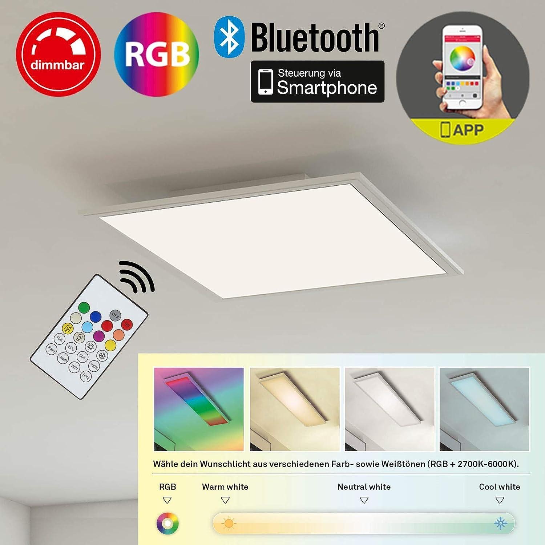 Briloner Leuchten 3031-016-Plafón De Panel, empotrable LED, 18W, regulable, control de temperatura de color, control de aplicaciones, Bluetooth, Plaza 29,5cm, plástico, 18W, color blanco