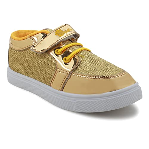 7ba4f33faef MYAU Boys Girls Designer Shiny Golden Velcro ClosureOutdoor Casual Shoes
