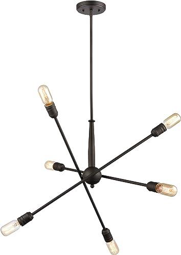 WILDSOUL 10036OB 6-Light Sputnik Modern Linear Chandelier