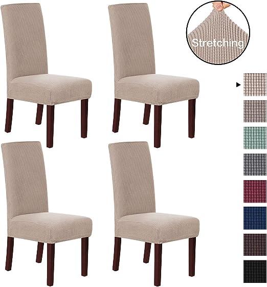 Fundas protectoras para silla de comedor, de licra suave, elásticas, varios colores, arena, Pack de 4: Amazon.es: Hogar