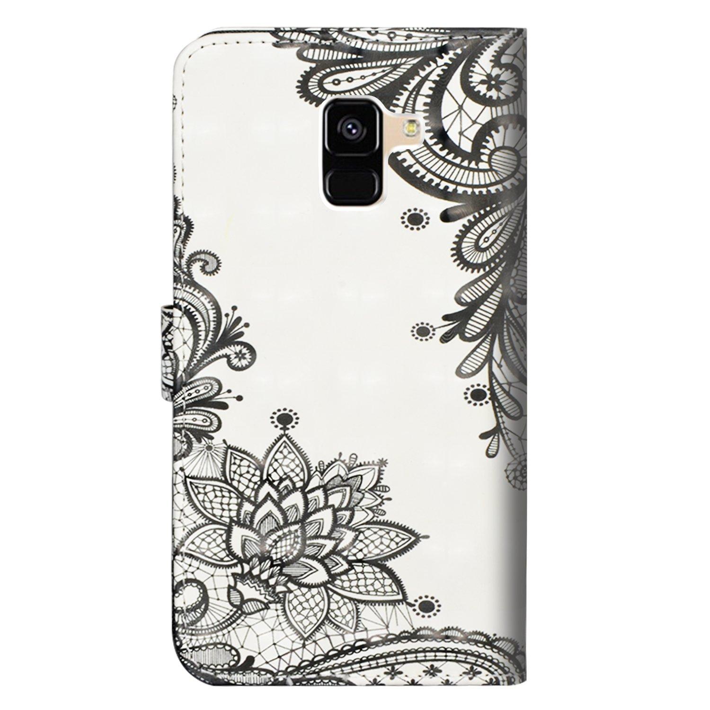 para Samsung Galaxy A6 2018 Funda Cuero De La PU Magn/ético Capirotazo Billetera Apoyo Bumper Protector Cover Funda Carcasa Case Flor Negra Diagonal