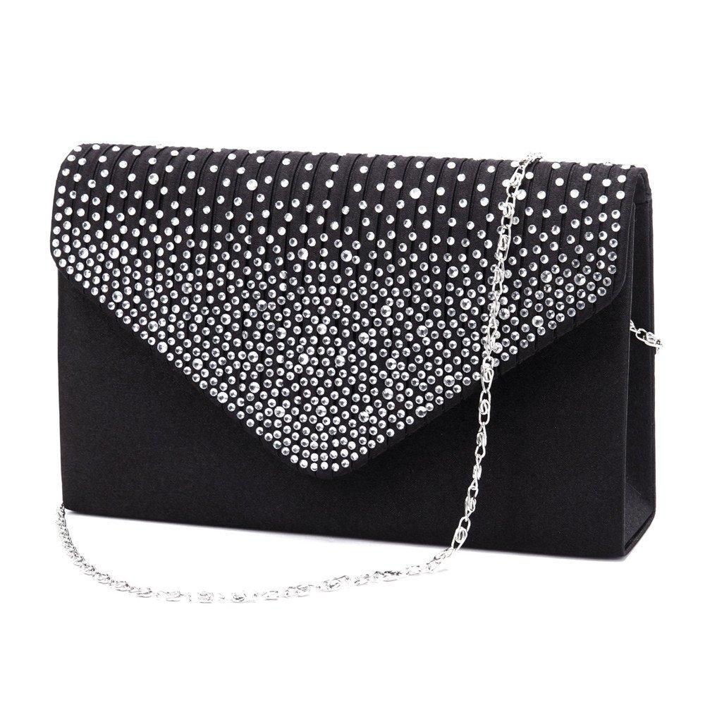 Nodykka Women Evening Envelope Rhinestone Frosted Handbag Party Bridal Clutch Purse Shoulder Cross Body Bag (Black)