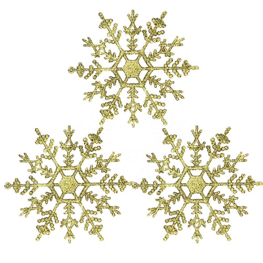 YIYEZI 3 Pcs Christmas Snowflake Xmas Tree Hanging Ornament Party Festival Pendant Decorations (Gold)