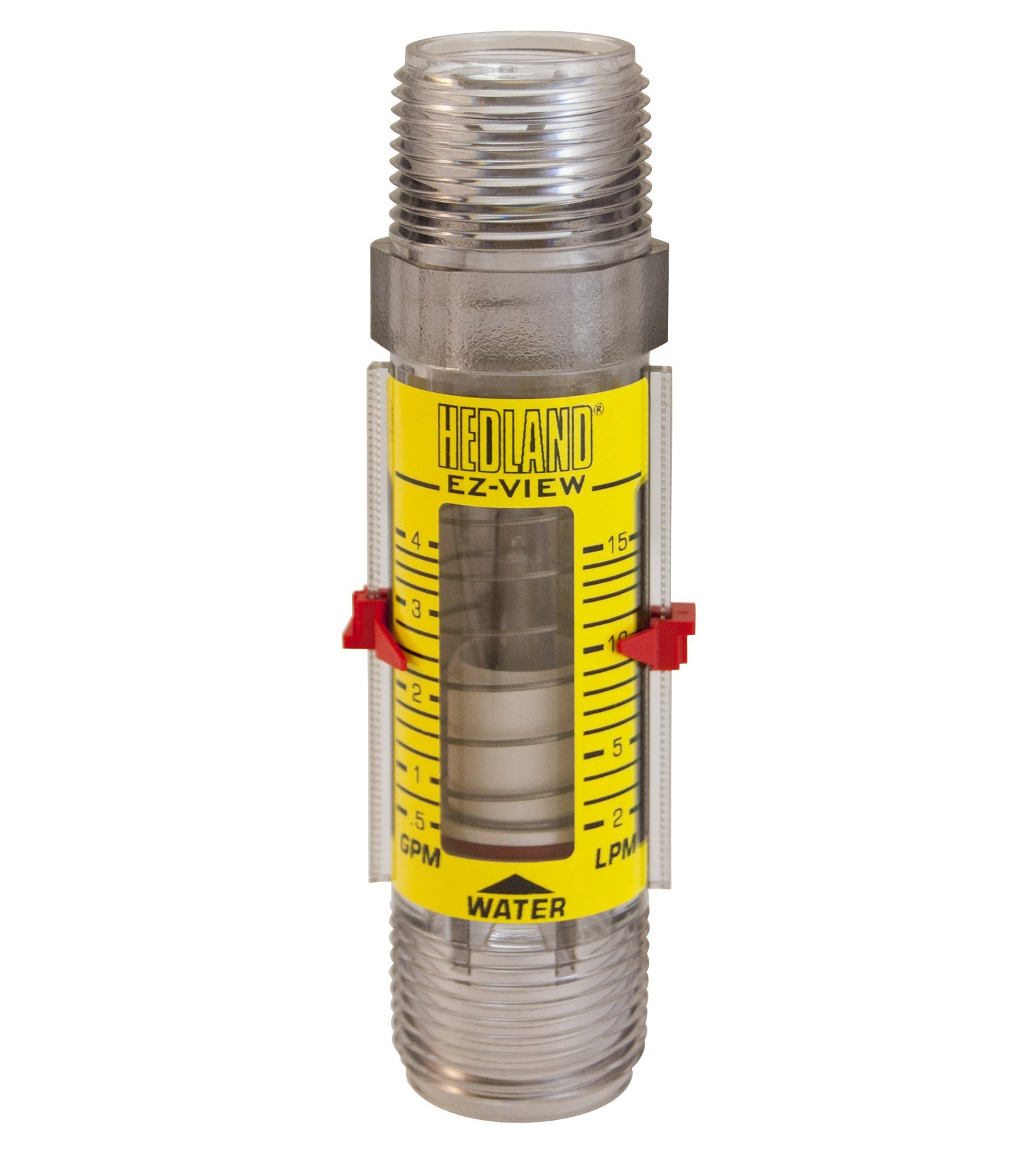 Hedland H621-004 EZ-View Flowmeter, Polysulfone, For Use With Water, 0.5-4 gpm Flow Range, 1'' NPT Male