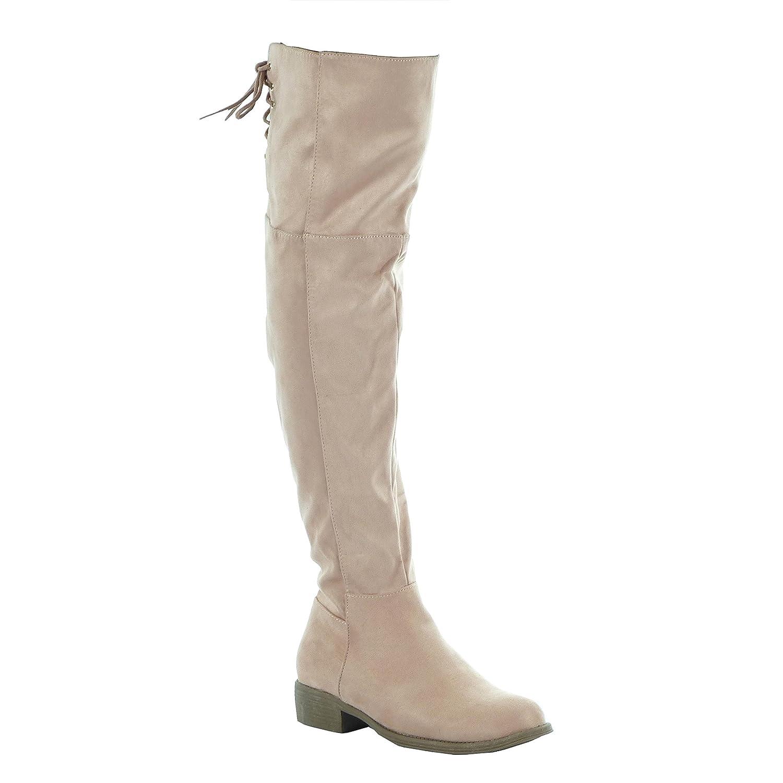 Int/érieur Fourr/ée Angkorly Chaussure Mode Cuissarde Souple Femme Lacets dor/é Talon Bloc 3 CM