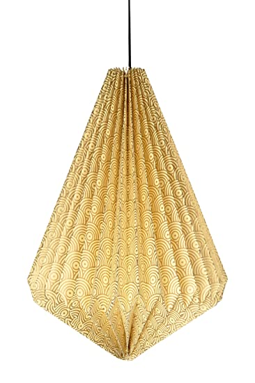 Lalhaveli Handmade Paper Decorative Hanging Lamp and Ceiling Lampshade (17x13.5 Inches, Yellow) Pendant Lights at amazon